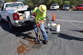 Asphalt repair by G P Maintenance Solutions on pothole in Kapolei